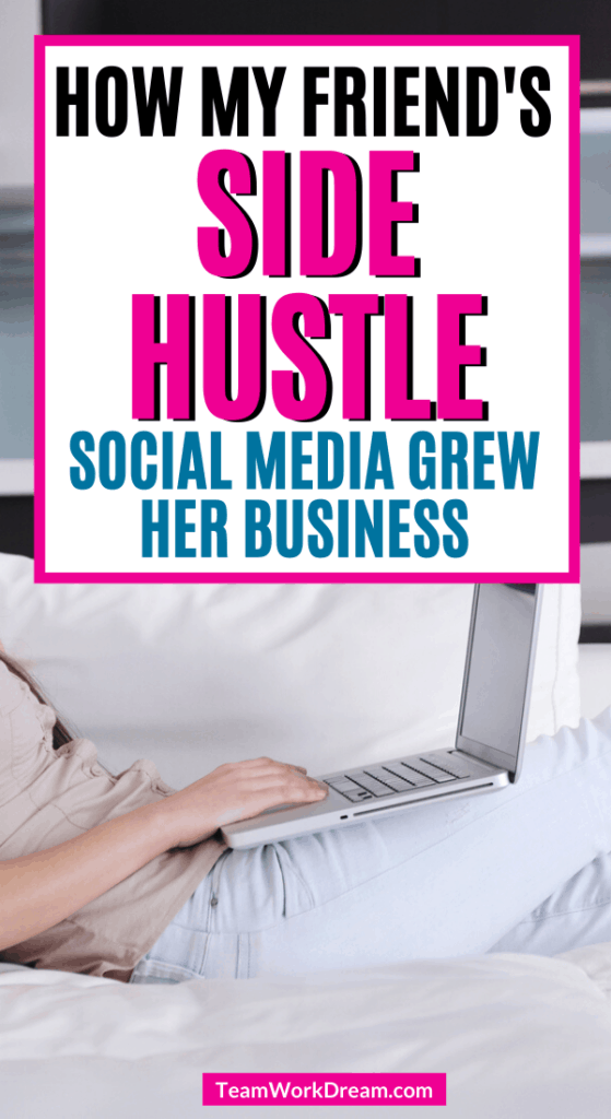 Woman on laptop updating side hustle online presence.