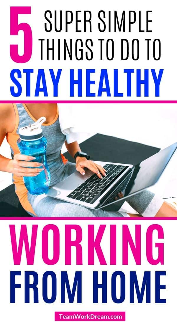 staying healthy when working from home. Woman on laptop exercising and drinking water