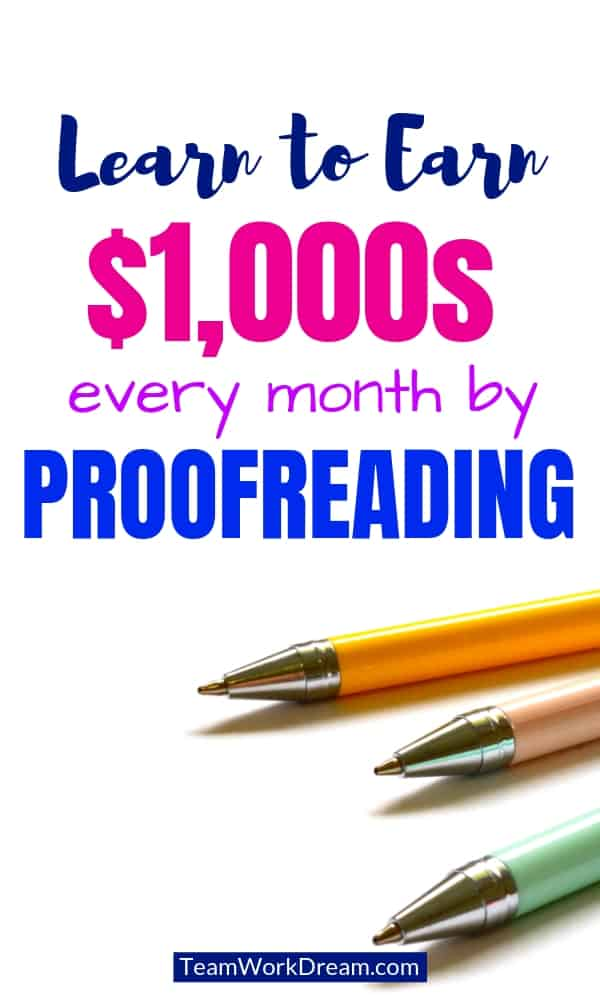 LEarn to earn thousands every month by proofreading. Make money from home online by correcting spelling mistakes and grammar. #workfromhomejobs #workfromhomeideads #proofreadingandediting #sidehustle