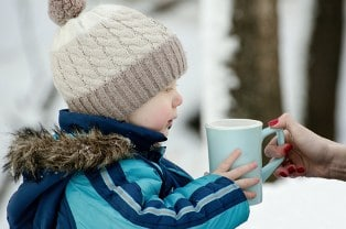Cute Child Image of Boy Drinking Warm Drink