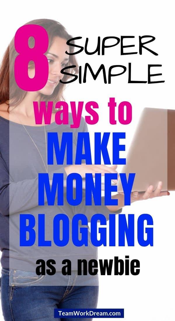 Woman on laptop top making money blogging