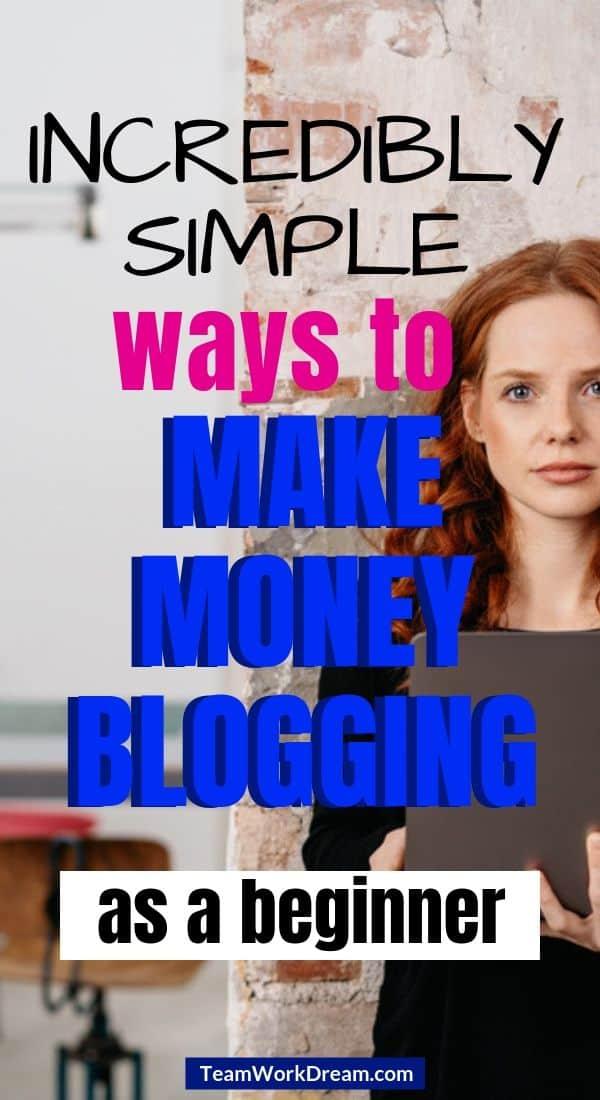 Beginner female blogger on laptop