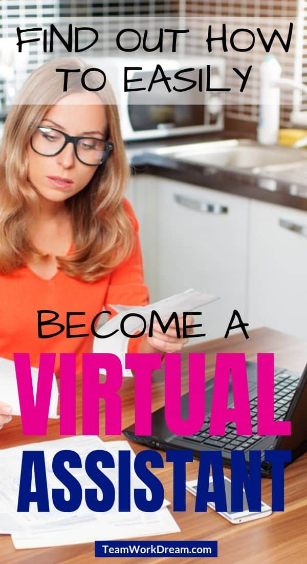Woman working as a virtual assistant at her kitchen table