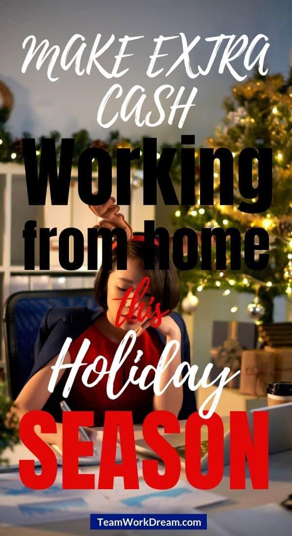 Woman at home office during christmas holiday season