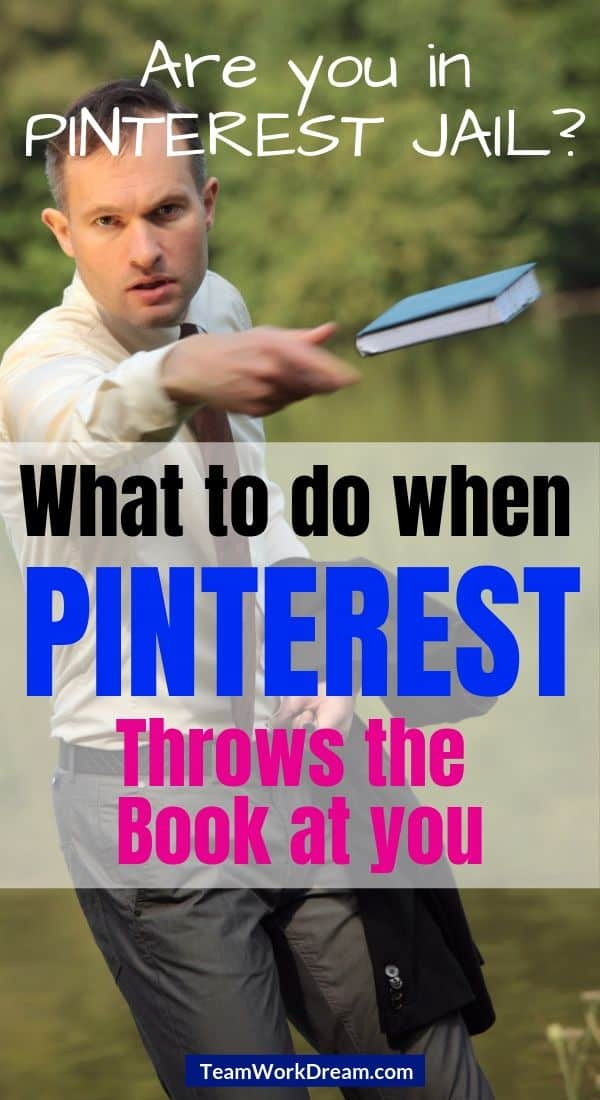 Man throwing book at person who is pinterest spam block.