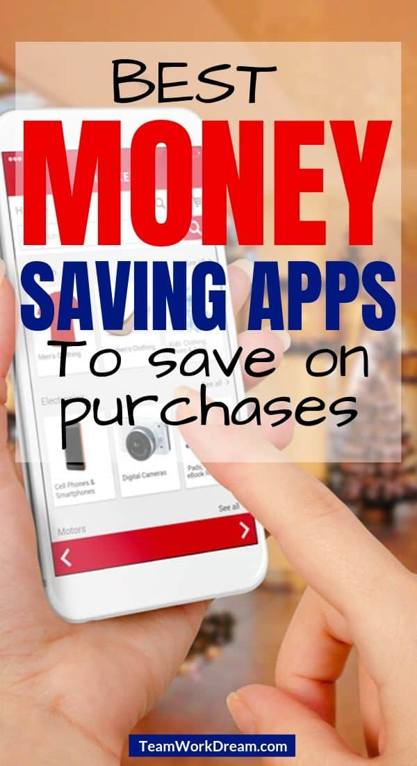 Using smartphone to check money saving apps for shopping prices