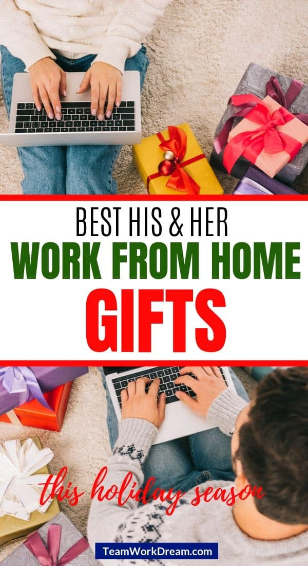 Man and woman working from home on laptops surrounded by gifts