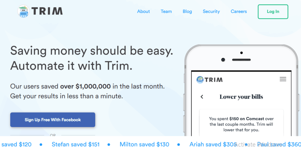 Trim Money Saving App