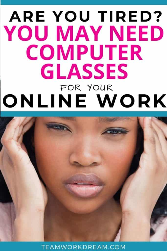 Woman suffering from eye strain and headaches as not wearing the best blue light blocking glasses when working online.