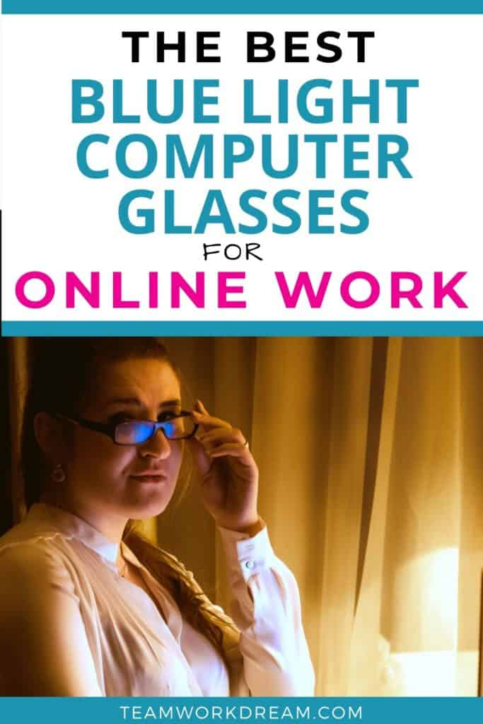 Woman working on computer wearing one of the best blue light blocking glasses for online work
