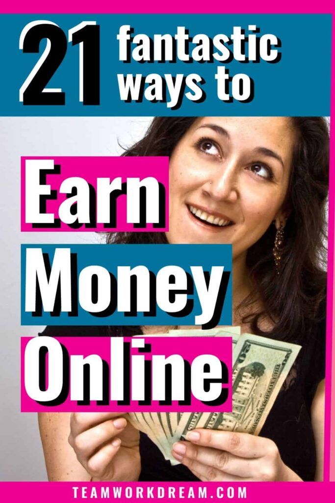 Woman counting money from earning money online.