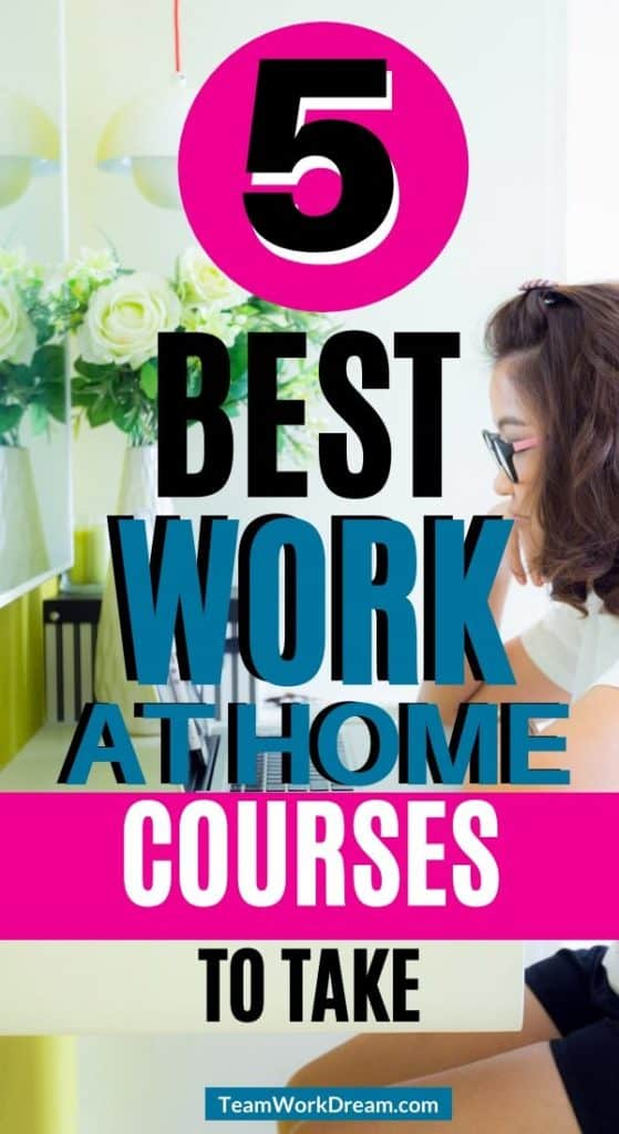 woman on laptop learning 5 of the best work at home courses to take to start earning a full-time income.