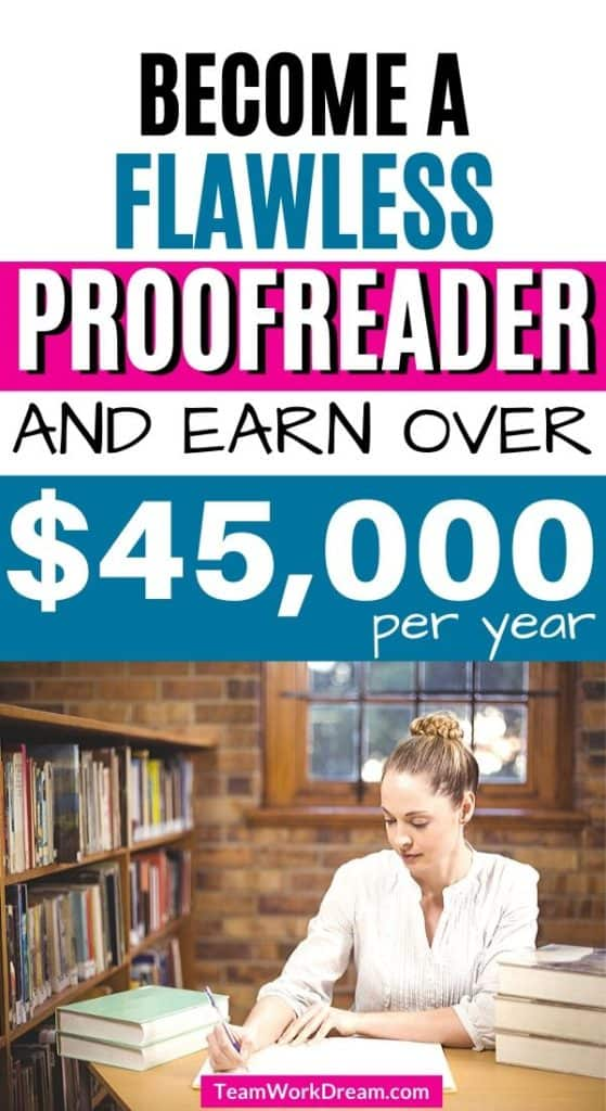 Woman proofreading work as a work at home proofreading job