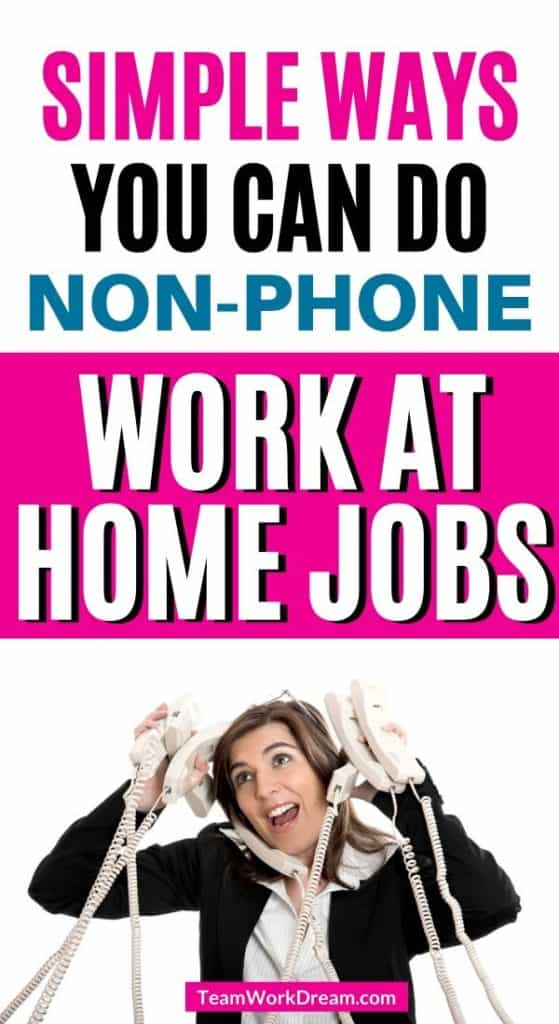 woman busy on phones wanting to find a non phone work at home job