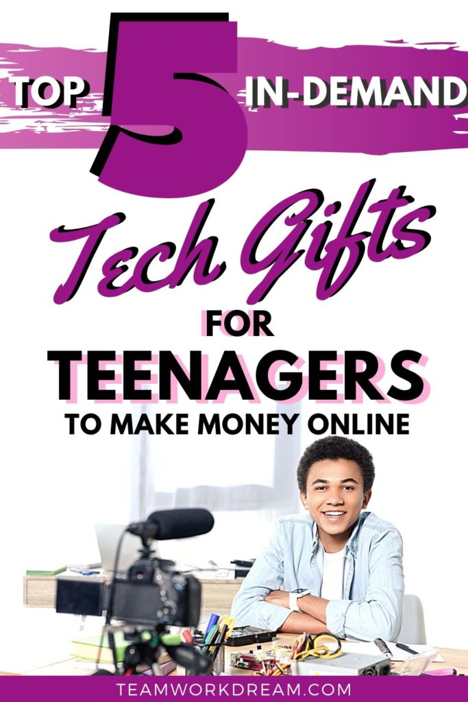 teenage boy using tech gifts for vlogging