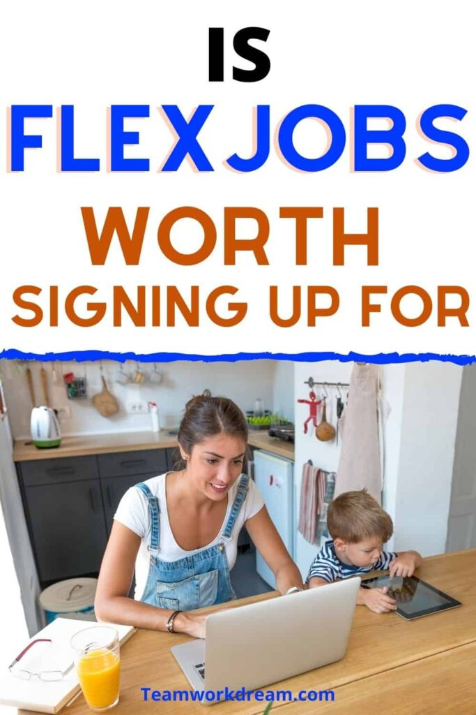 woman on laptop looking at flexjobs site with son by her side.