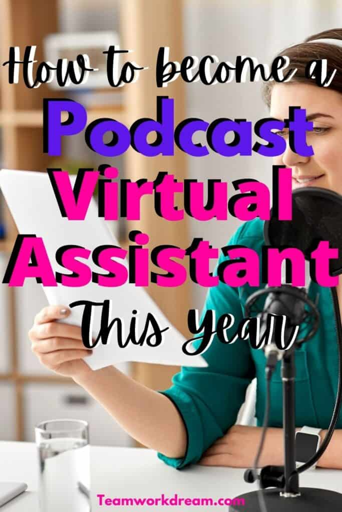 How to become a podcast virtual assistant. woman checking podcast show notes